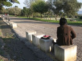 reading in a road by Mikiel