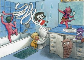 BathroomYokai by Cattype