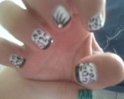 Black and White Leopard Nails by briiannaaax