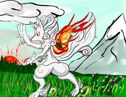 When Amaterasu turned to Lucario by Fangy-From-Shadow
