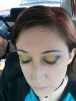 yellow and blue eyeshadow by janielle623