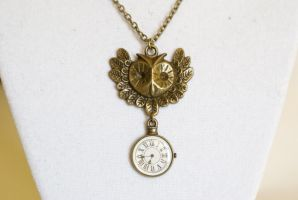 Steampunk Owl Necklace by foowahu-etsy