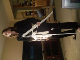 Me in half finished Kimono with Obi belt and sword by Elizabeth1315