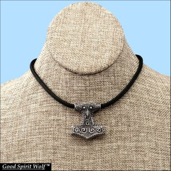 Raven Skane Hammer Double Braided Cord Necklace by GoodSpiritWolf