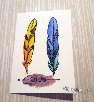 Watercolour feathers card by Marjolijn-Ashara