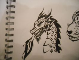 Tribal Dragon Design by mikaylamettler