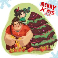 Wreck it Ralph Christmas Card 2012 by RO-sen