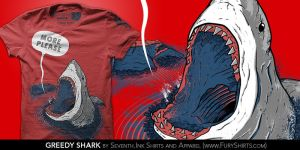 Greedy Shark T-Shirt by seventhfury