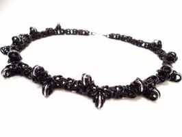 Black barbed wire chainmail necklace by SerenityinChains