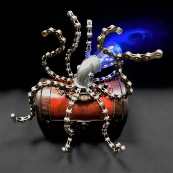 Light-Up Metal Steampunk Octopus Sculpture by deathbysunset