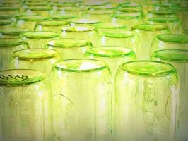 Green Glass Jars by oxynova13