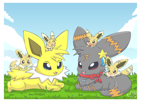 An eeveelution family by pichu90