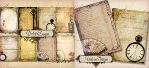 Tattered Ephemera ATC Backgrounds by VectoriaDesigns