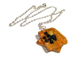 Blueberry Waffles Necklace/Charm by delectablycharming