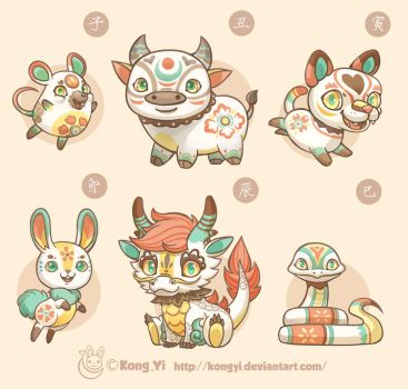 Doodle:Chinese Zodiac part 1 by kongyi
