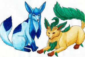 Glaceon and Leafeon by Vialir