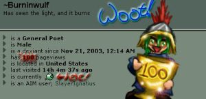 100th pageview for Burninwulf by soulesslouisa