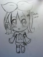 Gift for ApplePeaches14 / Sketch of Rin Kagamine by FluffyMallowx3