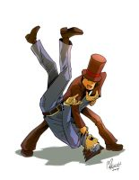 Professor Layton vs. Phoenix Wright by spacecoyote