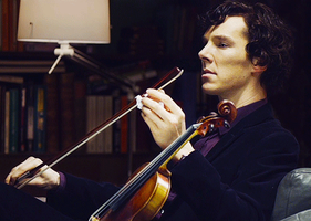 Sherlock w Violin by 14LolaLoverX3