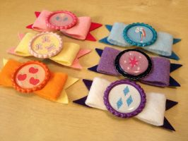 MLP Felt Hair Clip / Clothes Brooch - Mane 6 by Monostache