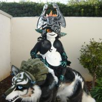 Midna rides Wolf link by LilleahWest