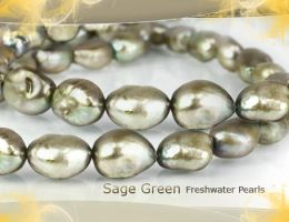 Sage Green Freshwater Pearls by BeadsofCambay