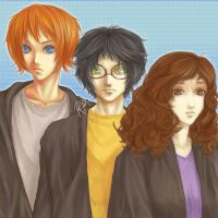 Ron, Harry, Hermione by BeckiebooTwo