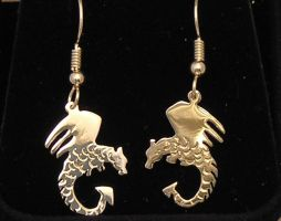 Sterling Silver Dragon Earring by DragonsFlyDesigns