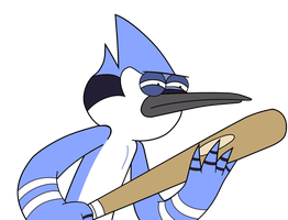Mordecai with a bat by kol98