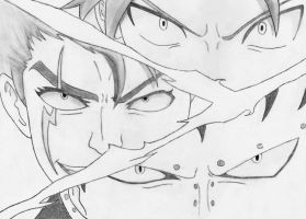 Natsu and Gajeel vs Laxus by oljailson