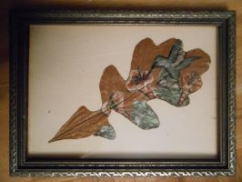 Hummingbird painted on an oak leaf by wholedwarf