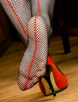 Red Seamed Fishnets by MTL3