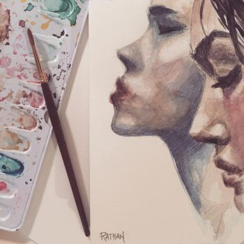 Watercolor study, two profiles by akrathan