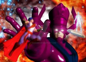 Servant vs. Galactus and the Silver Surfer by giumabei