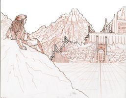 View of the City Line Art by Jackalopette