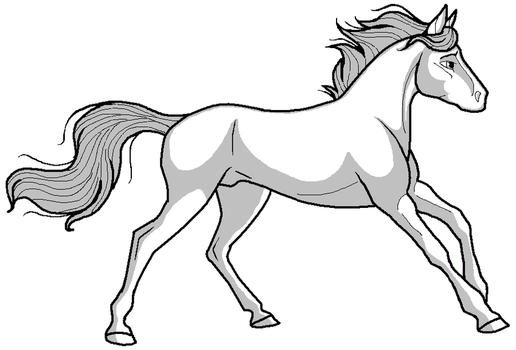 Stallion lineart for MS paint by kokamo77