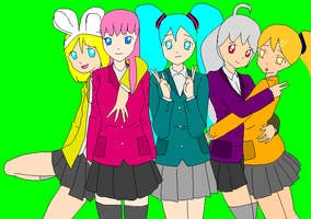 Vocaloid School Girls by missxmello