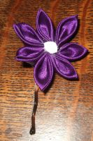 Purple and White Kanzashi by taylor-of-the-phunk