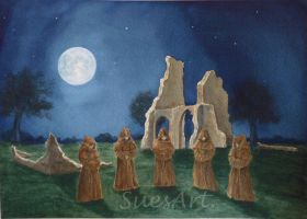Monks at Moon Lite Abbey by SueMArt
