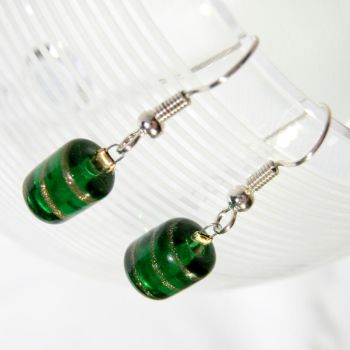 Green and Gold Glass Earrings by EccentricOcean