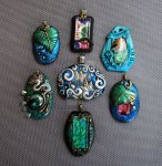 Polymer Clay Pendants Bright Colors by MandarinMoon