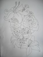 flowers tattoo design lineart by tattoosuzette