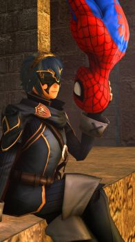 Lucina and  Spider-Man : Hanging out by kongzillarex619