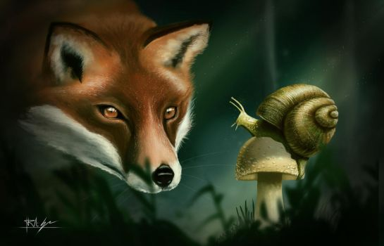 The grandfather snail and the fox by Nosfer