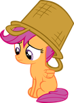 Scootaloo with basket on head by CrusierPL