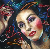 Cher Stars Album Cover Chalk Art by charfade
