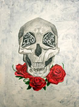 Skull and Roses by EliseInWondrlnd