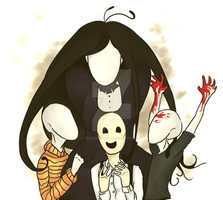Slenderman,Trenderman,Splendorman, and mother by Feature-Topia