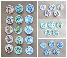 Pokemon Starters Button Set by pookat